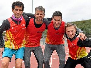 Christophe Rech, Romain Fayel, Nicolas Texto, Alexandre Remacle (ci-dessus, de gauche à droite), Vincent Bouzat et Frédéric Raimond (en bas, de gauche à droite) tenteront de réaliser un gros coup dimanche, lors du championnat de France d'ekiden, à Paris.