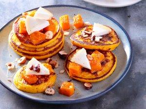 Recette : Petits pancakes à la courge butternut rôtie et charolais AOP