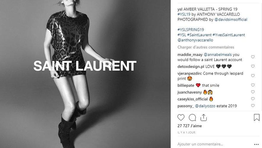 Amber Valletta a été choisie pour incarner la collection printemps 2019 de Saint Laurent.