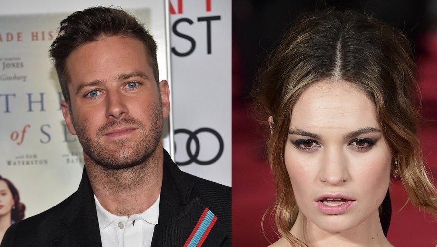 """Armie Hammer (à gauche) et Lily James se donneront la réplique dans une nouvelle adaptation de """"Rebecca"""" destinée à Netflix"""