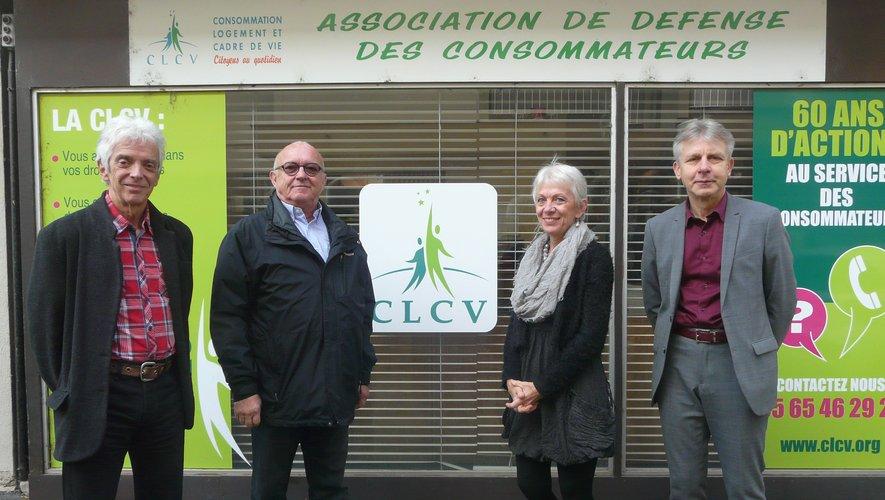 D. Lascoumes avec les trois principaux représentants pour l'office du Grand – Rodez : Joëlle Fabre, Claude Battas et Patrick Palisson.