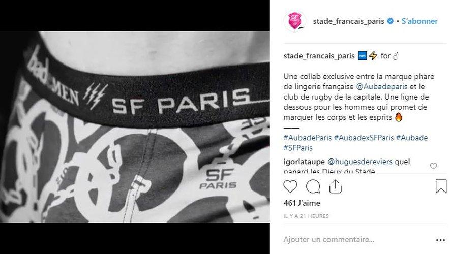 Le Stade Français Paris s'associe à Aubade le temps d'une collection de sous-vêtements pour hommes.