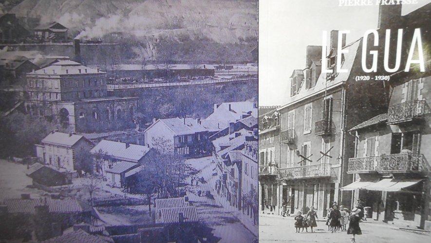 La couverture du livre (à droite) avec en arrière-plan une photo d'époque du quartier du Gua.