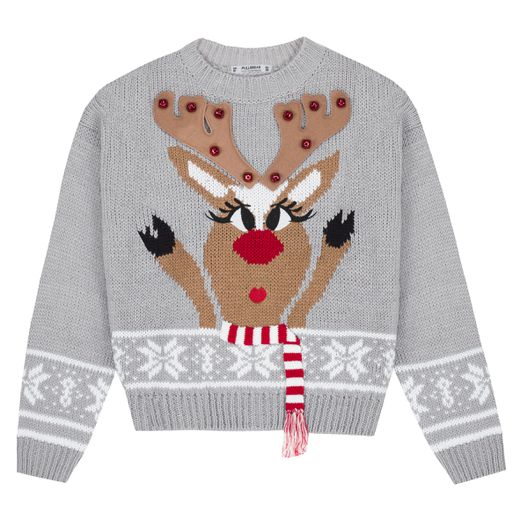 Le pull de Noël de la marque Pull & Bear met en avant un renne femelle au make-up irréprochable.