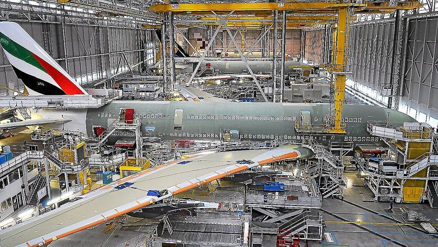 Les chaînes de montage de l'A380, à Toulouse.