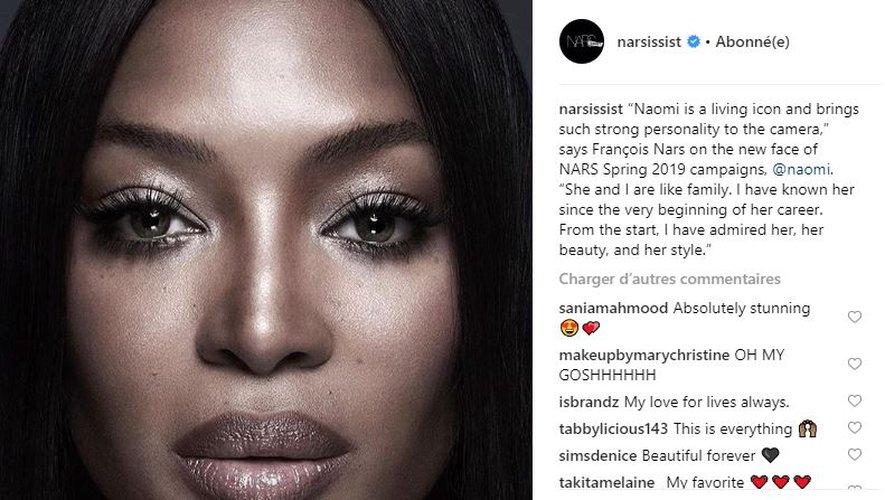 Naomi Campbell devient l'égérie de la marque Nars Cosmetics pour le printemps 2019.