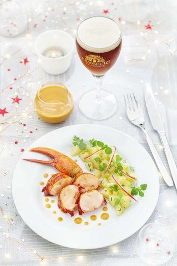 Homard, sauce au corail à la bière de Noël