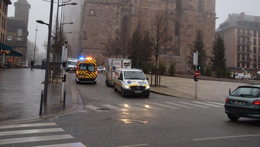Une personne s'est blessée ce mardi matin place d'Armes à Rodez, où les pavés sont très glissants.