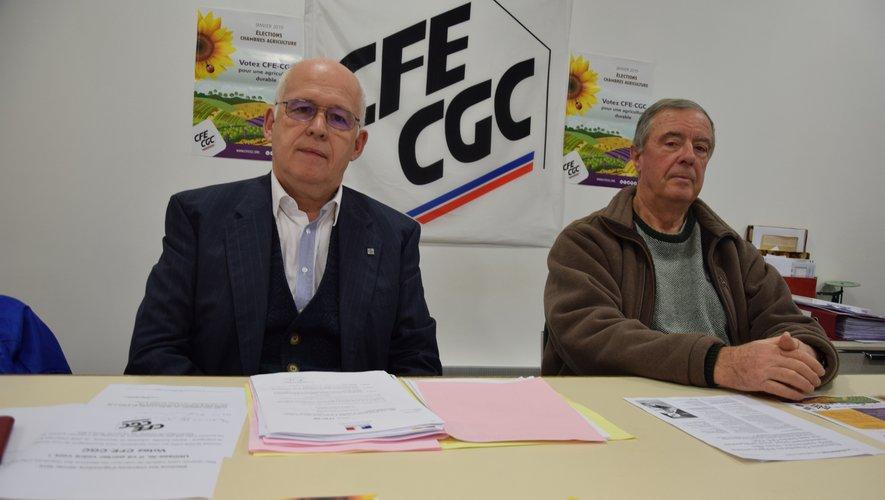 Jacques Douziech, président de l'union locale CFE-CGC, aux côtés du trésorier Alain Calas.