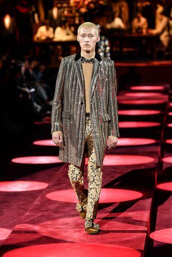 Défilé Dolce & Gabbana lors de la Fashion Week homme automne/hiver 2019/2020 de Milan, le 12 janvier 2019