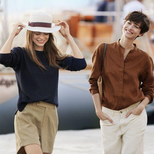 Deux looks issus de la nouvelle collaboration entre Uniqlo et Ines de la Fressange.