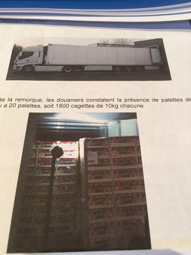 Le document judiciaire sur lequel on voit la taille du camion  et l'empilement de palettes dans lesquelles la drogue a été trouvée.