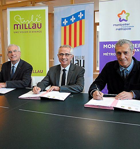Les signataires de cette convention de partenariat tripartite.