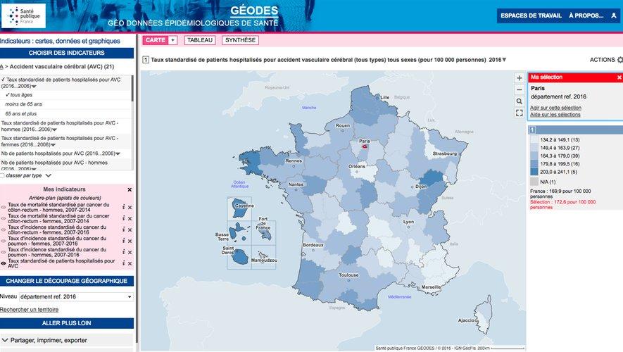 L'agence sanitaire Santé publique France a lancé vendredi un site qui permet de visualiser ses riches données sous forme de cartes régionales