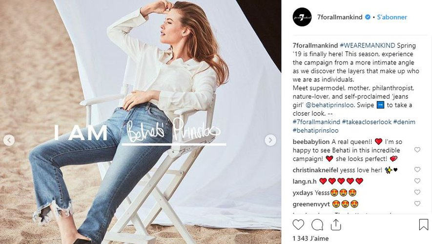 Behati Prinsloo prête ses traits à la nouvelle campagne 7 For All Mankind.