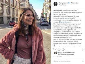 Fanny Maurer est la nouvelle make-up artist Europe de Kat Von D Beauty.