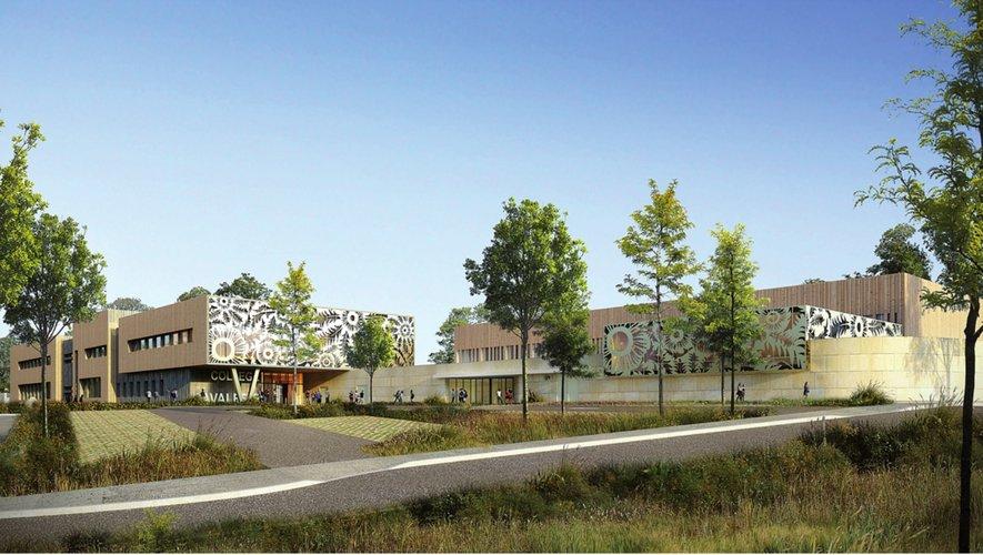 L'entrée du futur collège sera ornée de structures ajourées en forme de cardabelle.