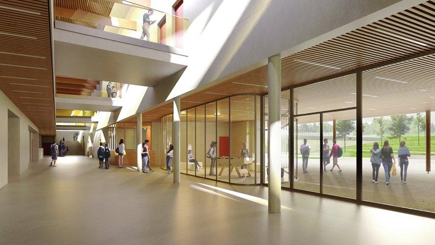 Rue intérieure. Entre les deux corps des bâtiments du collège se trouve ce que l'architecte du projet, Antoine Assus de la société BPA Architecture, appelle la « rue intérieure ». Un espace commun qui permettra aux collégiens de circuler de manière fluide entre les différentes salles de classe.