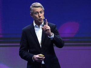 Le directeur général de la GSMA Mats Granryd au Mobile World Congress (MWC) de Barcelone.