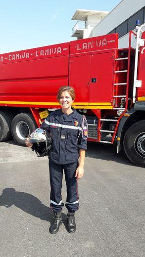 Florence Marie, 42 ans, sapeur-pompier volontaire à Rignac depuis 17 ans.