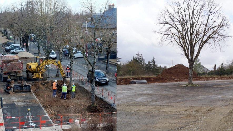 Les travaux du cheminement de la mairie à la galerie et la place de la liberté sont en cours.