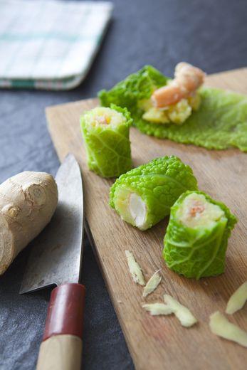 Maki chou vert, écrasé de pomme de terre et crevettes