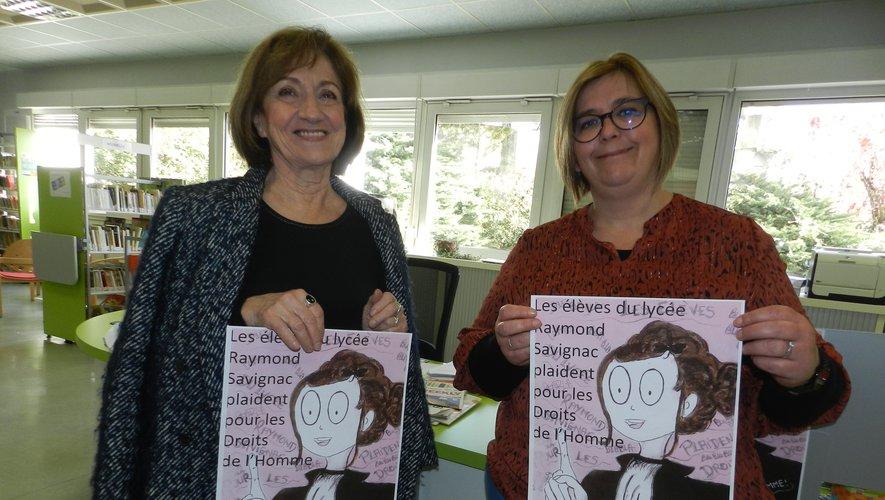 Vanessa Despeyroux et Pierrette Matharan sont mobilisées pour la soirée plaidoiries de lundi, annoncée par une affiche signée d'une ancienne gagnante au concours du Mémorial de Caen, Émilie Grouillet.