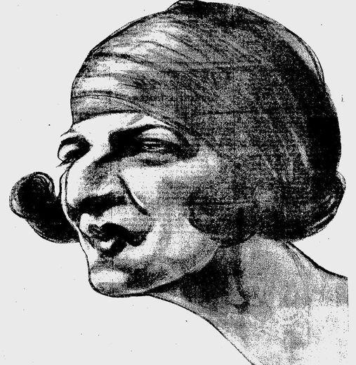 """La championne de tennis Suzanne Lenglen """"croquée"""" par Raoul Cabrol."""