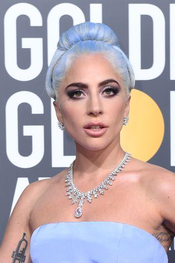 Lady Gaga aux Golden Globe Awards le 6 janvier 2019, au Beverly Hilton de Beverly Hills.