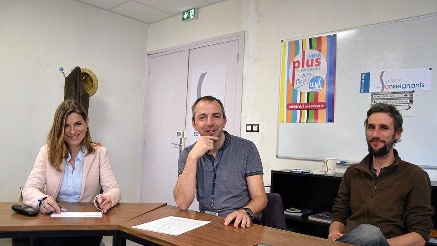 Les représentants du syndicat SE-UNSA de l'Aveyron en désaccords avec la loi Blanquer.