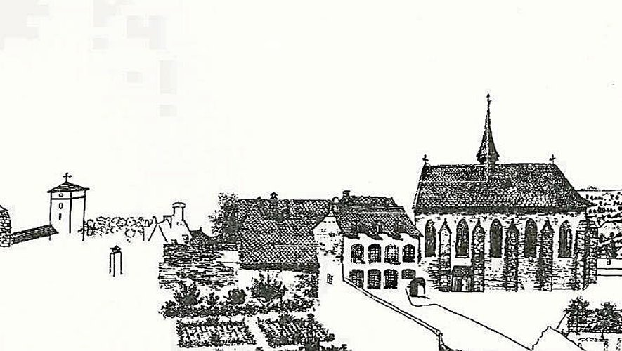 La chapelle et les bâtiments du couvent des Annonciades. Dessin à la plume de M. de Nattes. Document extrait du livre de Pierre Benoit « Le vieux Rodez » chez Carrère imprimeur