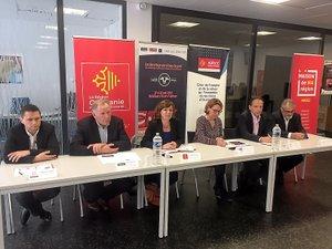 Tous les partenaires de l'opération autour d'Emmanuelle Gazel,  vice-présidente de la Région.