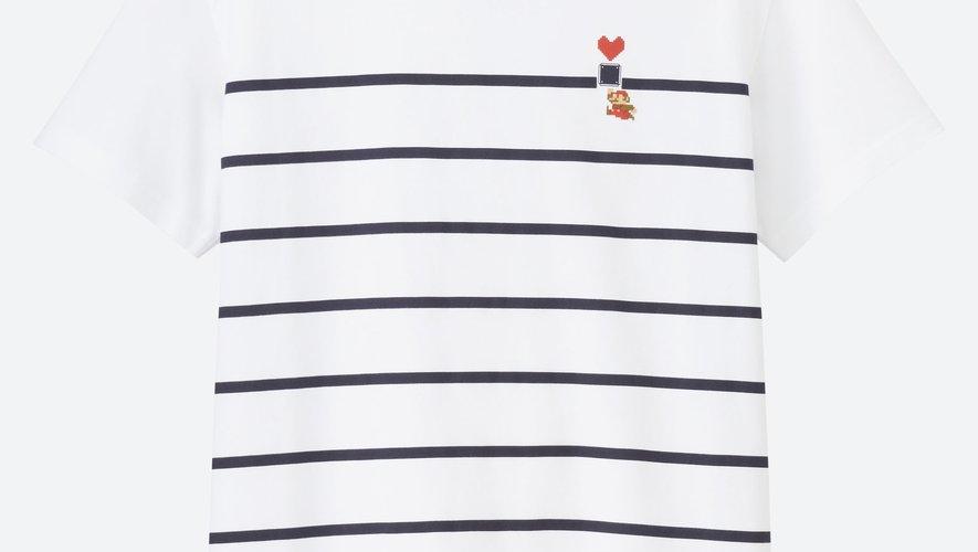 """Un des T-shirts issus de la collection """"UT Super Mario Family Museum"""" par Uniqlo x Nintendo."""