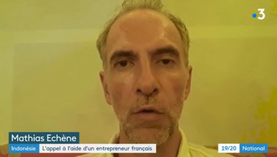 Mathias Echène, ici sur France 3 depuis sa prison en Indonésie.