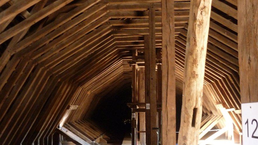 Une vue de l'intérieur de la toiture de la cathédrale de Rodez, inaccessible au grand public.