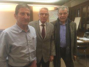 Claude Cros, secrétaire de la société centrale d'agriculture, Edouard Fabre, président et Alain Escafre, ancien conseiller général de l'alimentation, de l'agriculture et des espaces ruraux auprès du ministère de l'Agriculture (de gauche à droite).