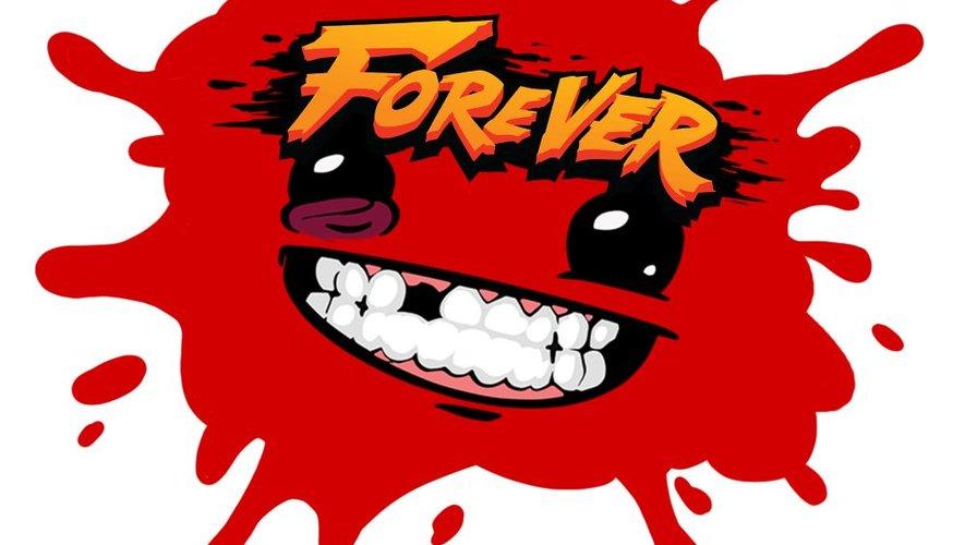 """Meat Boy et Bandage Girl se lancent joyeusement à la rescousse d'un bébé glaçon de viande dans """"Super Meat Boy Forever""""."""
