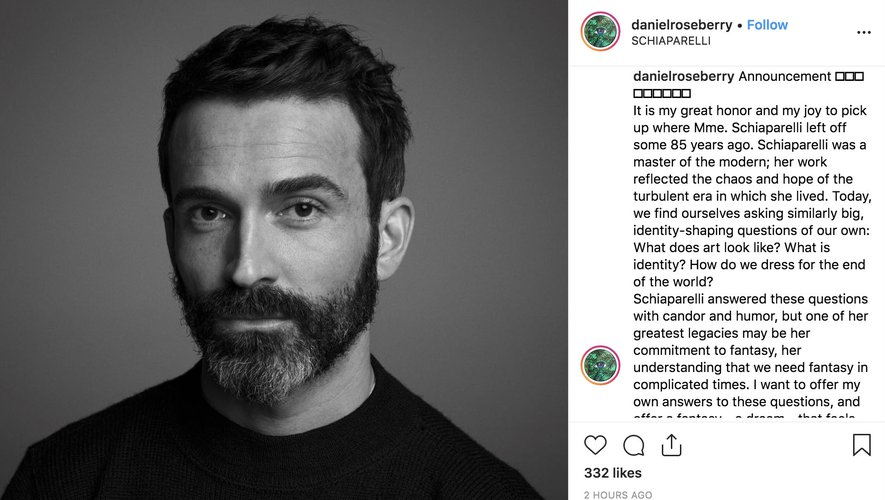 Daniel Roseberry sur Instagram 2019