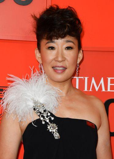 Sandra Oh sur le tapis rouge du Time 100 Gala au Lincoln Center à New York, le 23 avril 2019