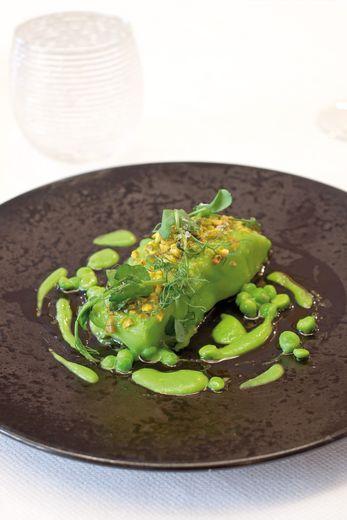 Cabillaud tout vert aux petits pois et brisures de pistache