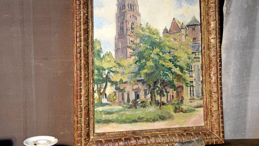 Une œuvre peinte représentant la cathédrale de Rodez : quand l'antiquité rattrape l'actualité.