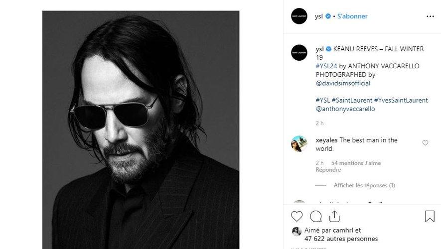 Keanu Reeves est le nouveau visage de la maison Saint Laurent.
