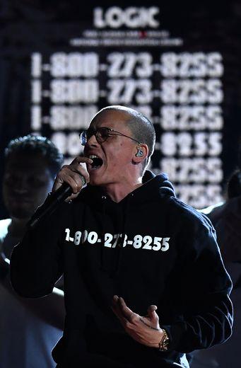 Logic sur la scène de la 60ème édition des Grammy Awards, le 28 janvier 2018 à New York.
