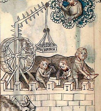 Grue médiévale à roue d'écureuil, illustration extraite du « Speculum humanae salvationis » (latin : Miroir du salut humain), œuvre latine du premier quart du XIV siècle, conservée à la Bibliothèque du Vatican.