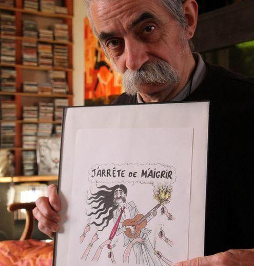 Le dessin offert par Wolinski, sacré souvenir./Photo DDM.