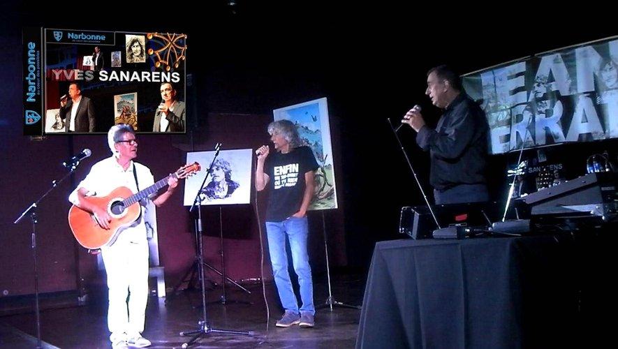 Le trio de chanteurs avec Yves Sanarens et André Bec, incontournable interprète de Ferrat.