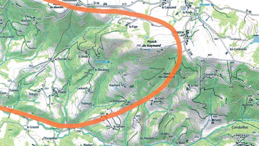 La carte du périmètre pour la commune de Pruines du projet de Grand Site de France tel que validé par le Conseil municipal.