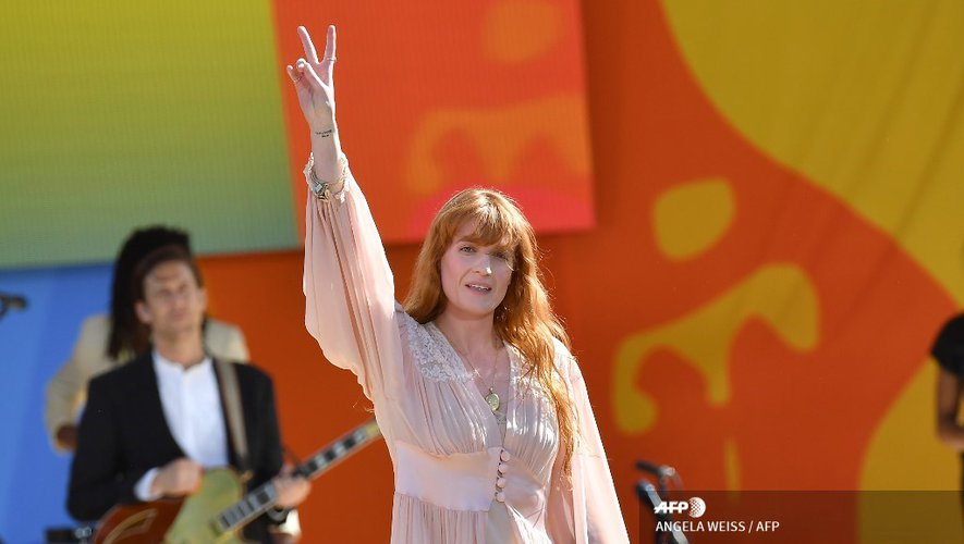 "Florence Welch du groupe Florence + The Machine sur le plateau de l'émission ""Good Morning America"" d'ABC lors de la série de concerts d'été à Central Park, le 29 juin 2018, New York"