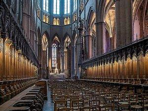 « Près de quatre-vingt sièges médiévaux ouvragés et alignés de part et d'autre du chœur, organisés sur deux niveaux, séparés de hauts accoudoirs ciselés et couronnés pour les stalles hautes, par un dais ajouré, traduisent l'importance du lieu destiné à l'évêque et à son chapitre de chanoines assistés également de nombreux vicaires ; un ensemble exceptionnel exécuté durant dix années, de 1478 à 1488 par André Sulpice et son équipe de sept sculpteurs. »