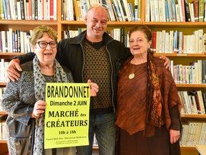 Annie Dengreville (présidente de la bibliothèque), Michel Folck, Brigitte Lagrèze